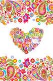 Skjortatrycket för hippie t med den sömlösa gränsen för färgrika blommor och blom- hjärta formar med fred, förälskelse, glädjeord vektor illustrationer
