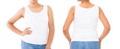Skjortauppsättning Skjortadesignen för sommar t och stänger sig upp av den unga afro amerikanska t-skjortan för vit för kvinnabla arkivbilder