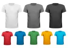 Skjortor för polo för svartvita och färgmän. Design  Fotografering för Bildbyråer
