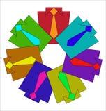 Skjortor med band av olika färger royaltyfri illustrationer