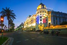 Skjul D Azur France för des Anglais för hotellNegresco promenad trevligt Royaltyfri Bild