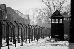 Skjulvakt i Auschwitz Museum Auschwitz - Birkenau, förintelsemuseum Arkivfoton