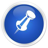 Skjut knappen för rundan för blått för stiftsymbolen den högvärdiga Arkivbild