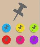 Skjut stiftsymbolen - plan design vektor Royaltyfria Bilder