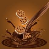 Skjuta in chokladkakaannonsen, flödande choklad med kakor Advertizingorientering för din packedesign royaltyfri illustrationer
