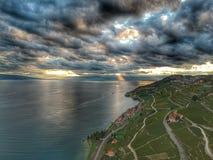 Skjuta i höjden ovanför Lavauxen Fotografering för Bildbyråer