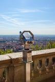 Skjuta ihop att förbise för Lyon, Frankrike, cityscape från över Royaltyfri Bild