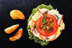 Skjuta in med det stekte ägget, bacon, tomaten, gräsplaner Frukost med stekte potatisar och champinjoner Top beskådar Royaltyfria Bilder