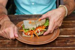 Skjuta in med grönsaker, en vegetarisk smörgås om bröd arkivbild