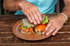 Skjuta in med grönsaker, en vegetarisk smörgås om bröd royaltyfri fotografi