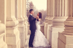skjuten övre sikt för bruddans brudgum arkivbild
