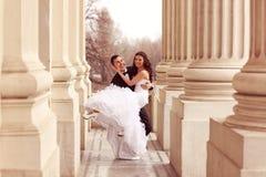 skjuten övre sikt för bruddans brudgum Royaltyfria Bilder