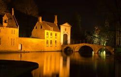 skjuten Belgien brobrugge natt Arkivfoto