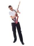 skjuten caucasian full gitarrist arkivfoto