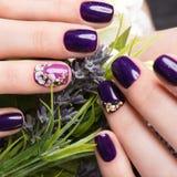 Skjuten härlig manikyr med blommor på kvinnliga fingrar Spikar design Närbild arkivbild