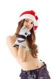 skjuten kvinna för skönhetbikinihatt santa Royaltyfria Foton