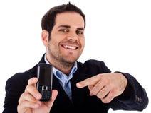 skjuten mobil punkt för affärscloseupman royaltyfria foton