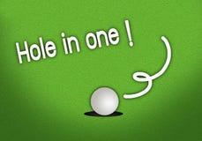 Skjuten satt tappa hole in one för Golfball Arkivbild