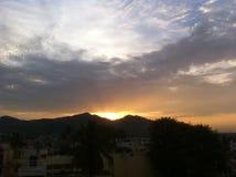 skjuten solnedgångtid för exponering long Royaltyfri Fotografi