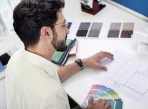 skjuten studioworking för arkitekt projekt Arkivbilder