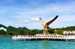 Skjutit av Langkawi ` s Eagle Square från havet Royaltyfri Fotografi