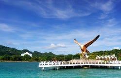 Skjutit av Langkawi ` s Eagle Square från havet Fotografering för Bildbyråer