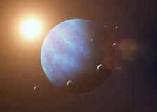 Skjutit av Neptun som tas från öppet utrymme collage Arkivfoton