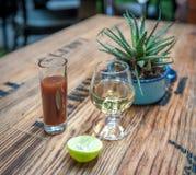 Skjutit av tequila, sangritaen och limefrukt - dricka mexikansk stil royaltyfri fotografi