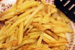 Skjutit i en studio Fried Potatoes Close upp royaltyfria bilder