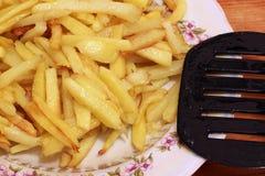 Skjutit i en studio Fried Potatoes Close upp royaltyfri fotografi