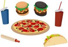 Skjutit i en studio Läcker tartilya, pizza, sodavatten, wienerkorvkorv, korv i degen, hamburgare stock illustrationer