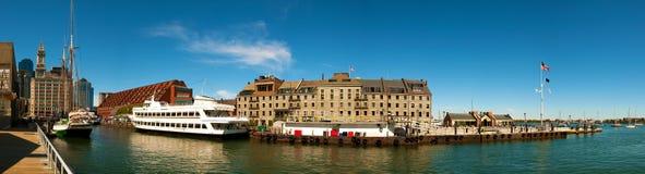 skjutit panorama- för boston hamn Fotografering för Bildbyråer