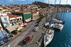 Skjutit uppifrån av masten under i seglingregatta 16th Ellada Royaltyfria Foton