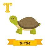 Sköldpadda T-bokstav Djurt alfabet för gulliga barn i vektor roligt Royaltyfri Foto