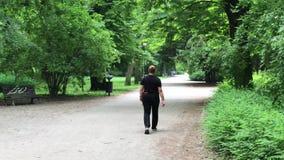 Sklejony kobiety odprowadzenie w wiosna parku zdjęcie wideo