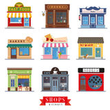 Sklepów i miejsc wydarzenia projekta sklepu płascy przody ilustracja wektor