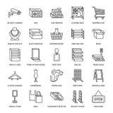 Sklep detaliczny dostaw mieszkania linii ikony Handlowi sklepowi wyposażenie znaki Reklama protestuje - kasa, kosz, waży Zdjęcia Royalty Free