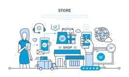 Sklep i online zakup, dostawa, pomoc techniczna ilustracja wektor
