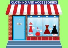 Sklep odzież, obuwie i akcesoria kobiety ` s, royalty ilustracja