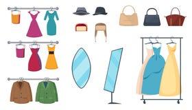 Sklep Odzieżowy ikony set Obrazy Stock