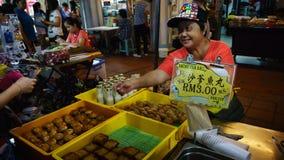 Sklep Satay Rybia piłka i inne rzeczy w Malezja Obraz Stock