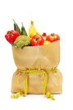 Sklep spożywczy torba z pomiarową taśmą wokoło go Fotografia Royalty Free
