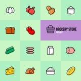 Sklep spożywczy ustalonych ikon wektorowy ilustracyjny projekt Obraz Stock