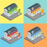 Sklep, supermarket powierzchowność Sklepy i supermarketów budynków płaskie dekoracyjne ikony ustawiający odizolowywający wektor 3 ilustracja wektor