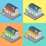 Sklep, supermarket powierzchowność Sklepy i supermarketów budynków płaskie dekoracyjne ikony ustawiający odizolowywający wektor 3 ilustracji