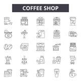 Sklep z kawą kreskowe ikony, znaki, wektoru set, kontur ilustracji pojęcie ilustracja wektor