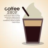 sklep z kawą lód - zimna słoma ilustracja wektor