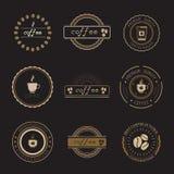 Sklep Z Kawą logowie, odznaki i etykietki, Projektują elementy ustawiających Zdjęcie Royalty Free