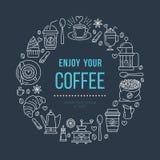 Sklep z kawą plakata szablon Wektorowa kreskowa ilustracja coffeemaking wyposażenie Elementy - kawy espresso filiżanka, francuz p royalty ilustracja