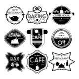 Sklep z kawą, restauracja rocznika Ustalone retro odznaki, faborki, etykietka ilustracji